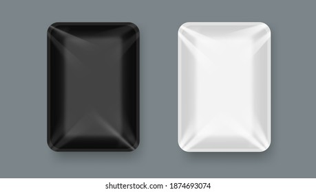 Black And White Plastic Food Tray Package With Transparent Wrap. EPS10 Vector