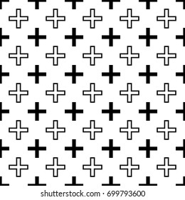 Black and White Plus Icon Isolated on White Background in Seamless Style.