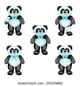 Black and white plush panda with bandages on the different parts of its body / There are five same plush pandas with bandages on the hand, head, leg, thorax and perineum