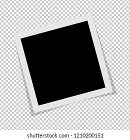 Black and white Polaroid photo frame with shadows isolated on transparent background. Polaroid image. Vector illustration