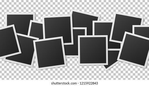 Black and white Polaroid photo frame with realistic shadows isolated on transparent background. Polaroid vintage style. Vector illustration