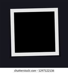Black and white polaroid photo frame with shadows isolated on dark background. Vector illustration