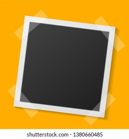 Black and white Polaroid photo frame with shadows isolated on orange  background. Vector illustration