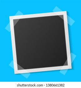 Black and white Polaroid photo frame with shadows isolated on  turquoise background. Vector illustration