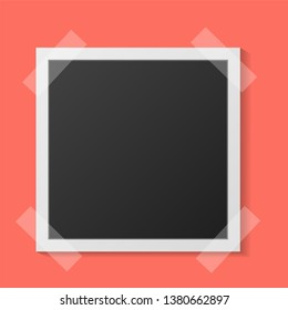 Black and white Polaroid photo frame with shadows isolated on living coral background. Vector illustration