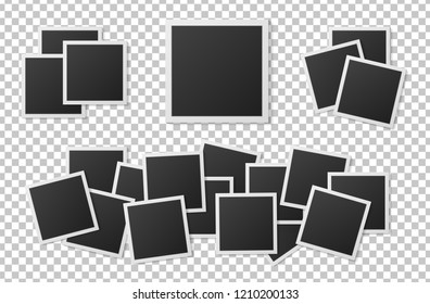 Black and white Polaroid photo frames set with shadows isolated on transparent background. Polaroid image. Vector illustration