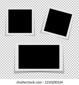 Black and white Polaroid photo frames with shadows isolated on transparent background. Polaroid image. Vector illustration