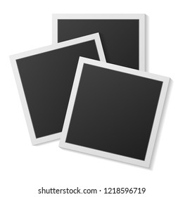 Black and white Polaroid photo frames isolated on white. Polaroid vintage style. Vector illustration