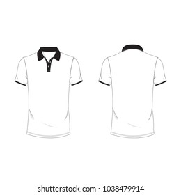 Black and white polo T-shirt template using for fashion cloth design and assessorie for designer to make mock up or blue print in copany.