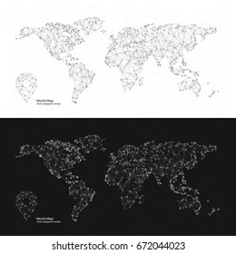 Black and White polygonal World Maps with Pin Icon. Abstract concept of Map for infographics
