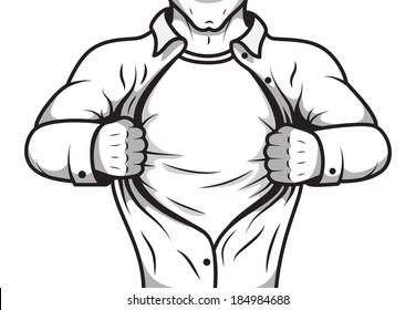 Black and white pop art comic male super hero opening shirt poster template vector illustration