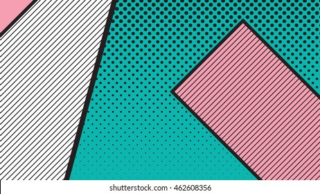 black and white pop art geometric pattern juxtaposed with bright bold blocks of squiggles. Material design background. Futuristic, prospectus, poster, magazine, broadsheet, leaflet, book, billboard