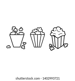 Black and white popcorn line icon set. Sweet or salty corn. Fast food logo.