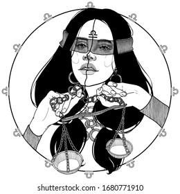 black and white portrait of a girl with scales zodiac sign and horoscope, goddess Nemesis or Themis