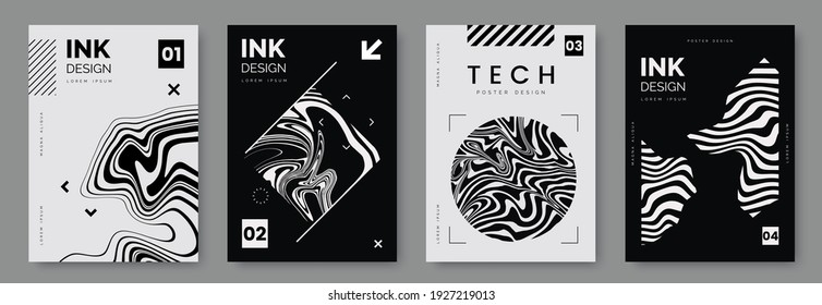 Black and white poster design with liquid and curve lines, abstract geometric shapes and place for text. Futuristic cover set. A4 size. Ideal for banner, flyer, invitation, business card. - Shutterstock ID 1927219013
