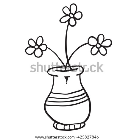 Black white pot flowers cartoon stock vector royalty free black and white pot with flowers cartoon mightylinksfo