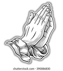 Black and white prayer hand. Vector illustration