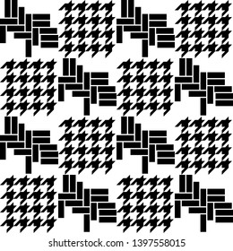 Black and white print with hounds tooth motifs. Seamless pattern for shirts, plaids, coats and other cloth. Retro textile collection. Asymmetric composition.
