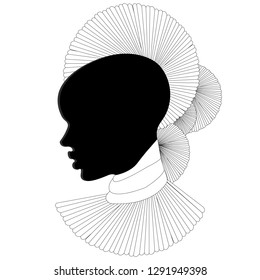 Black and white profile, silhouette, portrait of a beautiful African woman with an earring (profile view)