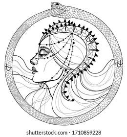 black and white profile of zodiac girl. Zodiac Ophiuchus the goddess of the snakes, ouroboros symbol.