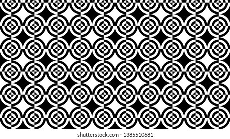 Black and White Quarter Circles Pattern Vector Image