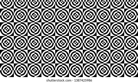 Black and White Quarter Circles Pattern Background Illustrator