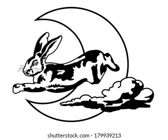 Black and White Rabbit jumping over Crescent Moon with Cloud Vector
