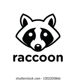 black white raccoon head logo and icon, clip art vector