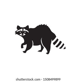 Black and white raccoon silhouette illustration. Forest animal vector logo.