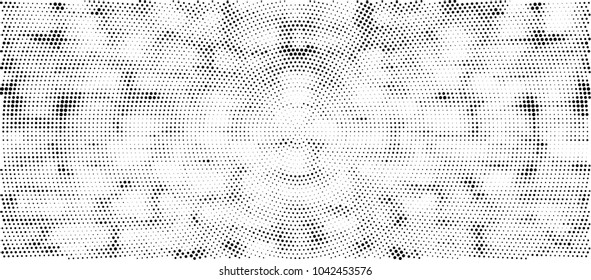 Black And White Radial Halftone Background. Abstract Dotted Monochrome Pattern. Futuristic Polka Dot Pop Art Creative Design. Ink Spots For Cover, Business Card, Poster, Mock-Up, Banner, Backdrop