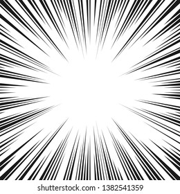 Black and white radial lines comics style backround. Manga action, speed abstract. Universe hyperspace teleportation background. Vector illustration