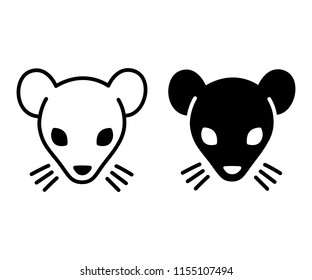 Black and white rat or mouse. Hand drawn rat face icon or logo, simple minimal style. Isolated vector illustration.