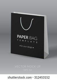 Black and white realistic paper bag template. Vector illustration. EPS 10