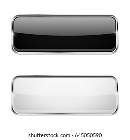 Black and white rectangle buttons. Glass web icons. Vector 3d illustration isolated on white background