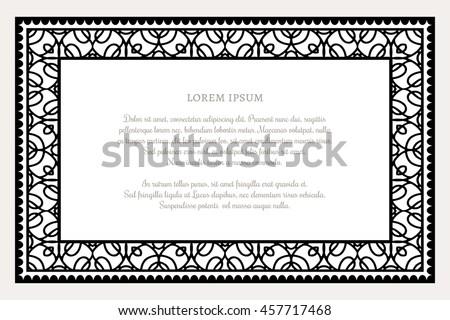 Black White Rectangle Frame Linear Border Stock Vector Royalty Free