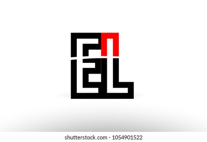 black white and red alphabet letter el e l logo combination design suitable for a company or business