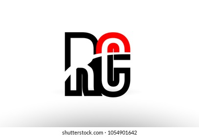 black white and red alphabet letter rc r c logo combination design suitable for a company or business