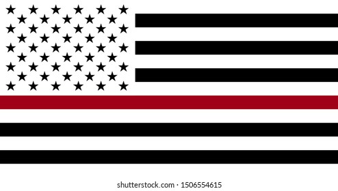 Black White and Red American Flag Honoring Firefighters. Vector EPS 10