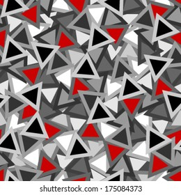 black, white and red outlined triangles seamless pattern