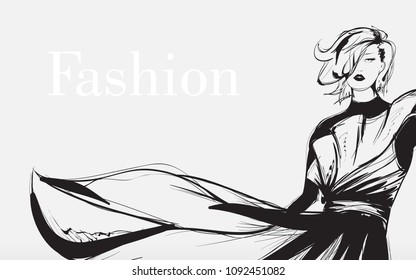 Black and white retro fashion model in sketch style. Hand drawn vector illustration