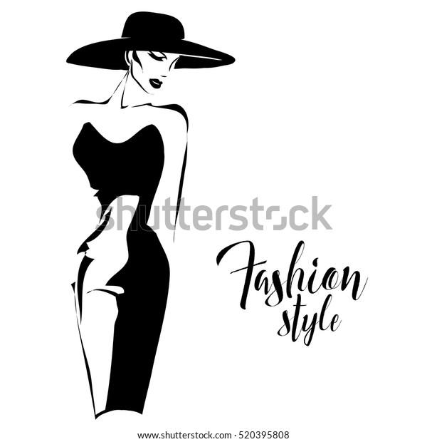 Black White Retro Fashion Model Sketch Stock Vector Royalty Free 520395808