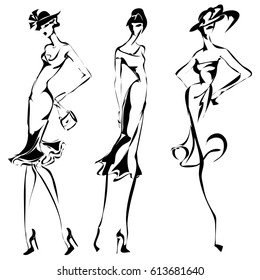 Black and white retro set, fashion models silhouette sketch style. Hand drawn vector illustration background