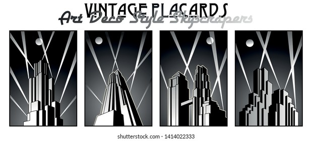 Black and White Retro Style Buildings Posters, Art Deco Architectural Style 1920s, 1930s