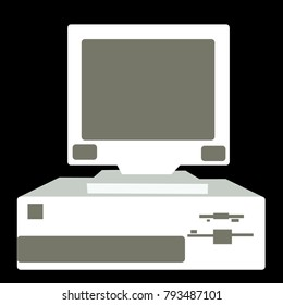 Black and white retro, vintage, hipster, old computer from the 80's, 90's with a system unit located below the monitor on a black background.Vector illustration.
