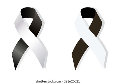Black and White Ribbon Anti-Corruption, Anti-Racism, Carcinoid Syndrome Cancer, Diversity, Vaccine Awareness