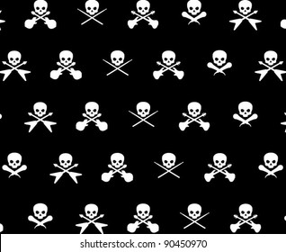 Black with White Rock Musician Skull and Cross Bones Pattern Background Fabric or Wrapping Paper Design