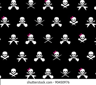 Black with with White Rock Musician Skull and Cross Bones with Hot Pink Girlie Bows Pattern Background Fabric or Wrapping Paper Design
