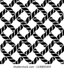 Black and white rope or thread seamless pattern. Grid, weaving, knot