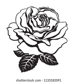 Black and white rose icon with leaves. Hand drawn vector illustration. Decorative element for tattoo.