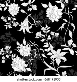 Black and white roses and lilies with leaves floral pattern on a black background.